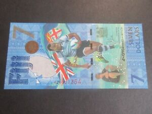 FIJI 2017 ISSUE, $7 OLYMPIC RUGBY SEVENS GOLD AZ PREFIX REPLACEMENT, P120r UNC