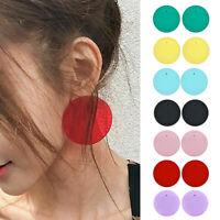 Fashion Women Transparent Geometric Acrylic Circle Stud Earrings Round Candy