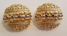 CAMROSE & KROSS JBK JACKIE KENNEDY LARGE GOLD TONE CLIP ON EARRINGS