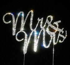 Traditional Rhinestone Crystal Diamante Monogram Wedding Cake Topper Mr & Mrs