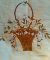 Antique Embroidery Basket Forget Me Not Victorian Edwardian Mourning