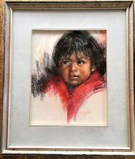 Original Guadalupe Apodaca Pastel Painting Mario Signed Front & Back 1987 Drawng