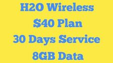 H2O At&T phones $40 Plan Preloaded SimCard 1 Month 8Gb at 4G Lte Unactivated