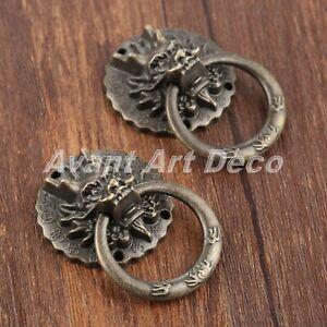 Elegant Dragon Head Drawer Cabinet Knob Ring Furniture Cupboard Door Pull Handle