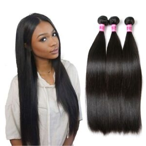 Straight Human Hair Brazilian Hair Weave 18 Inch Virgin Hair Bundles Extensions
