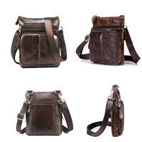 Men Travel Genuine Vintage Brown Leather Messenger Shoulder Laptop Bag Briefcase