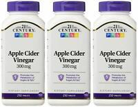 21st Century Apple Cider Vinegar 300mg Tablets 250ct Bottle -3 Pack -Exp 03-2022