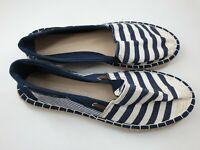 Dorothy Perkins size 8 navy blue / white stripey canvas espadrilles flat pumps