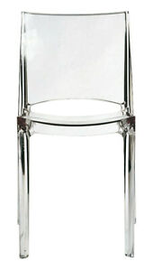Transparent Ghost Stackable Dining Chairs - Set of 2, Super Strong Polycarbonate
