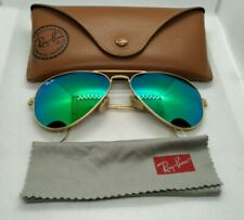 Ray Ban Aviator large metal green mirrored flash lenses sunglasses 58 lens