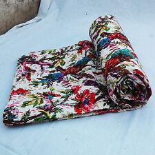 Indian Cotton Vintage Handmade Kantha Quilt White Bird Print Twin Size Gudari