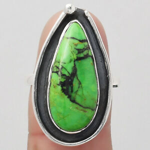 Natural Green Matrix Turquoise 925 Sterling Silver Ring s.7 Jewelry E684