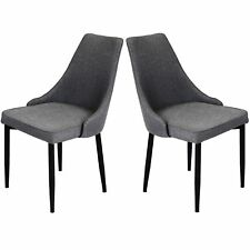 REBOXED 2x Dining Chairs Fabric Kitchen Dining Room Set Furniture Padded in Grey