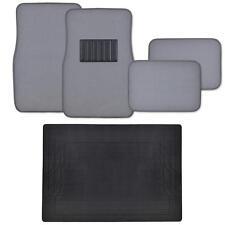 5PC Car Floor Mats Liners Plus Cargo Trunk Mat Extra Cushion Carpet- Light Gray