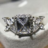 3ct Luxury Princess AAA CZ Band Women's 925 Silver Jewelry Wedding Ring Sz 4-9.5