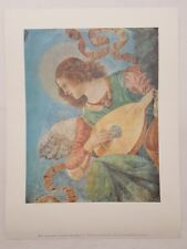 Angel with Lute Vintage Lithograph Art Print