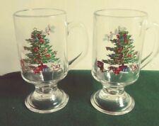 LOT OF 2 Tienshan HOLIDAY HOSTESS Mug CHRISTMAS TREE clear glass FOOTED. Box