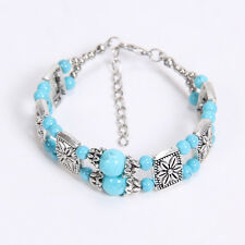 Free shipping New Tibet silver multicolor jade turquoise bead bracelet S17D