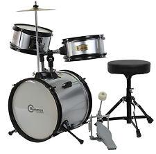New Silver Drum Set Junior Childrens Complete Child Kids Kit with Stool & Sticks