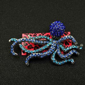 Hot Betsey Johnson Blue Bling Rhinestone Octopus Charm Brooch Pin Gift