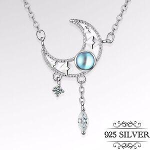 925 Sterling Silver Crescent Moon Star Pendant Necklace Rhinestone Jewellery UK