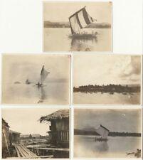 Five 1920s Snapshots of Pacific Islanders in Boats, Harbor, Dwellings