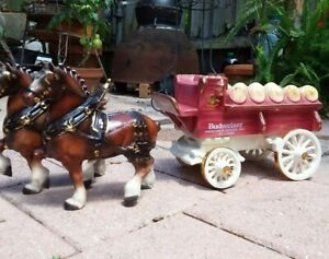 Budweiser Wagon 2 Clydesdale Horses Ceramic Poppytrail Pottery Metlox