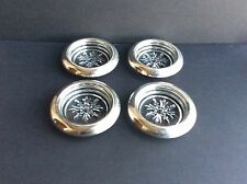 Set Of 4 Vintage Empire Sterling Silver And Crystal Coasters