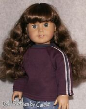 Dark Purple Plum Long Sleeve Sport Tee with Stripes fits American Girl Boy Doll