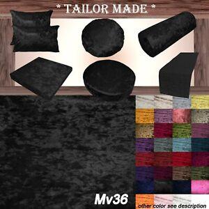 Mv36 Black Crushed Velvet Sofa Seat Patio Bench Box Cushion Bolster Cover/Runne