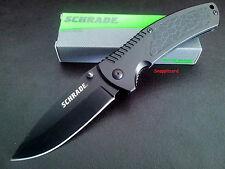 "Schrade 4.5""liner Lock Drop Point Blade SCH207 Folding Pocket Knife Hunting EDC"