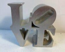 Robert Indiana Love Sculpture Brushed Aluminum Metal Genuine