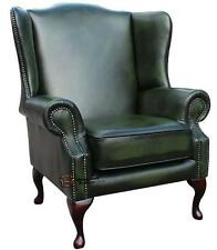 Chesterfield Mallory Saxon Queen Anne High Back Chair Antique Green Leather