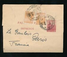 ARGENTINA STATIONERY NEWSPAPER WRAPPER to FRANCE UPRATED 1914