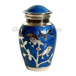 Blessing Silver Birds Small Keepsake Urn, Cremation Urns for Ashes