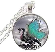 Vintage dragon Cabochon Tibetan silver Glass Chain Pendant Necklace #349