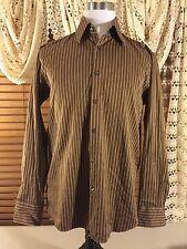 Mens HUGO BOSS L 16-34/35 Large Coco Brown Striped Shirt EUC