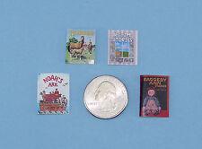 Adorable Set of 4 Dollhouse Miniature 1:12 Scale Faux Children's Books #HBS17