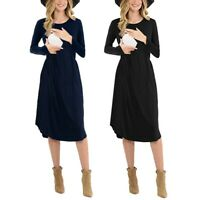 Soft Women Maternity Long Sleeve Solid Nursing Sleepwear Dress For Breastfeeding