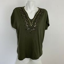 NWT Chico's Womens Cap Sleeve Army Green Sequin Boho Top Blouse V-Neck Size 2
