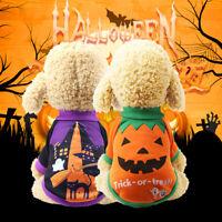 Pets Dog Pumpkin Suits Halloween Costume Puppy Party Clothes Sweatshirts Vest
