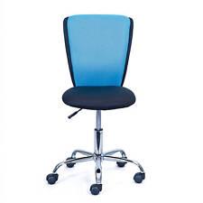 Chaise de bureau enfant noir bleu en métal chromé