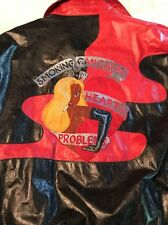 """Iceberg 1992 Rare Pelle Leather Jacket """"Smoking Can Cause Heart Problems"""" Large"""