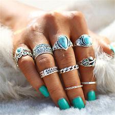 10pcs Boho Turquoise Finger Ring above Knuckle Band Midi Rings Stacking Ring Set