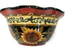 "Ceramic Bowl Brown Yellow Sunflowers Fall Decor Scalloped Edges 10""W  X 4.6""H"