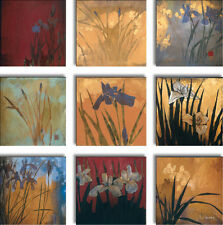 "9 PIECES 12""x12"" each IRIS NINE PATCH II by DON LI-LEGER 9PC CANVAS"