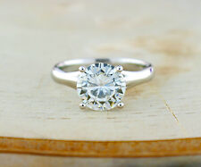 9mm Round Charles & Colvard FOREVER ONE Moissanite Solitiare Ring DEF 3 cttw