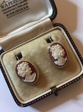 Antique Victorian Yellow Gold Cameo Earrings Drop Large
