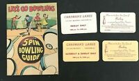 Vintage Bowling Booklet w/Tickets CHAPMAN'S LANES Vancouver B.C. Canada GUIDE Bk