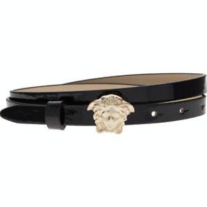 YOUNG VERSACE Gold Tone Medusa Head Glossy Belt - Black - XS, S, M, L, XL